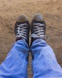 人穿上鞋子帆布背景纹理 库存照片