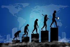 人类演变到现代世界里 免版税库存图片