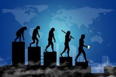 人类演变到现代世界里 库存照片