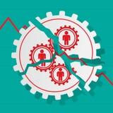 人红色图齿轮的是残破的 到达天空的企业概念金黄回归键所有权 栏杆的支 免版税图库摄影