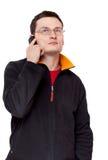 人纵向眼镜电话 库存照片