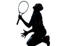 人网球员下跪尖叫 免版税库存图片