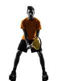 人网球员剪影 免版税库存图片