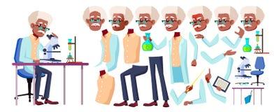 人老向量 投反对票 美国黑人 资深人画象 老年人 年龄 动画创作集合 表面 库存例证