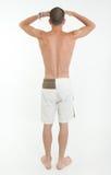 人背面图看的游泳裤的 库存图片
