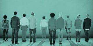 人背面图统一性公司队概念 免版税库存图片
