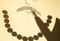 人胡子动画片墙壁被弄脏的抽象背景 免版税库存照片