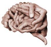 人脑做了†‹â€ ‹用手 免版税库存照片
