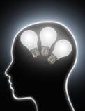 人脑力量创造性电灯泡 库存图片