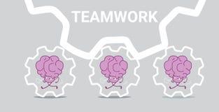 人脑合作跑在钝齿轮勤勉过程劳工成功的配合概念桃红色卡通人物 库存例证