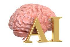人脑和AI词,人工智能概念 3d ren 免版税库存图片