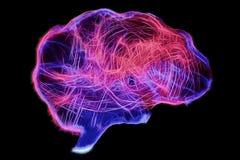 人脑的表示法由轻的绘的技术的 免版税图库摄影