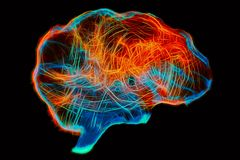 人脑的表示法由轻的绘的技术的 库存照片