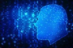 人脑结构,创造性的脑子概念背景的数字式例证 库存图片