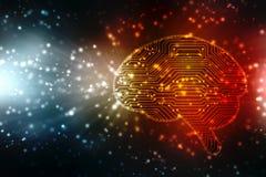 人脑结构,创造性的脑子概念背景,创新背景的数字式例证 免版税图库摄影