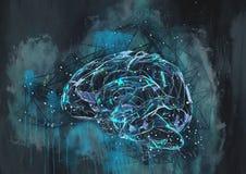 人脑 背景蓝色框褐色概念性欧洲例证货币对象 当代绘画 免版税图库摄影