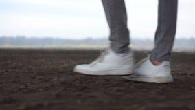 人脚射击在走在地面路的运动鞋的 自然环境 股票视频