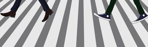 人脚走的行人穿越道 免版税库存图片