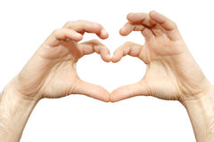 人腕子的手指心脏隔绝了在白色背景的爱标志 免版税库存照片