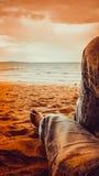 人腿穿戴长的牛仔裤在沙子海滩放松在他的在日落时间的假日 免版税库存图片