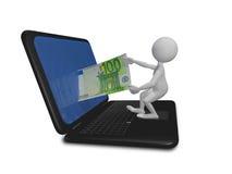 人膝上型计算机和欧元 免版税库存照片