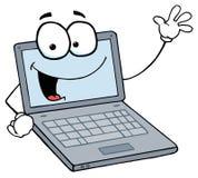 人膝上型计算机微笑的挥动 库存图片
