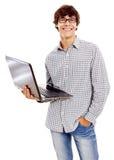 人膝上型计算机微笑 免版税库存照片
