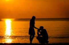 人膝盖要求妇女结婚 免版税库存照片