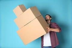 人落下的移动的箱子 图库摄影
