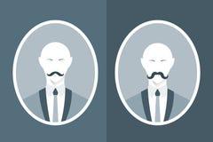 人葡萄酒画象衣服的与髭 免版税库存图片