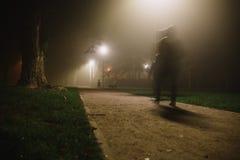 人行动迷离在公园、夜和大雾 库存照片