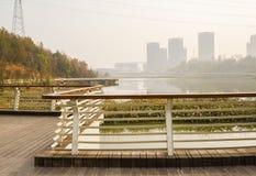 人行桥扶手栏杆沿河的在晴朗的wint的城市边缘的 免版税库存照片