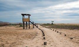 人行道下个鸟的监视人的观察小屋在圣何塞del Cabo盐水湖/出海口在下加利福尼亚州墨西哥 免版税图库摄影
