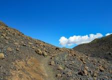 人行道投掷火山的黑沙子沙漠风景,从Thorsmork的Laugavegur足迹向兰德曼纳劳卡,冰岛的高地 库存照片