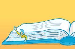 人被困住,当读或学习一本巨大的书时 皇族释放例证