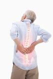 人被突出的脊椎充满背部疼痛的 免版税库存照片