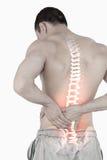 人被突出的脊椎充满背部疼痛的 免版税图库摄影