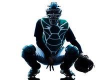 人被隔绝的棒球运动员剪影 免版税库存照片
