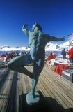 人装饰雕象游轮马可・波罗,南极洲甲板的  免版税库存图片
