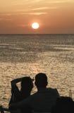 人观看的ibizaÂ的海岛日落003 库存照片