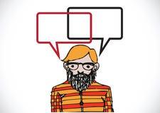 人认为和人谈话与对话讲话泡影 免版税库存图片
