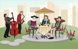 人谈话与端庄的妇女户外 夏天咖啡馆 街道音乐家 被限制的日重点例证s二华伦泰向量 向量 图库摄影