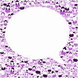 人谈话泡影紫色框架 免版税图库摄影