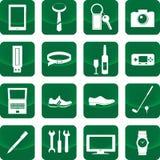 人象的设备在绿色按钮 免版税库存照片