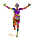 人赛跑抽象剪影  库存图片