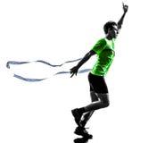 人赛跑者连续优胜者终点线剪影 免版税库存图片
