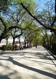人走的庭院-圣地亚哥孔波斯特拉-西班牙 免版税库存照片