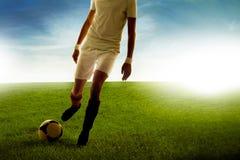 年轻人足球运动员在草地的比分目标 库存照片