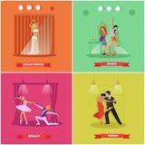 人跳舞的探戈、芭蕾、迪斯科和肚皮舞 在平的样式设计的传染媒介横幅 库存图片
