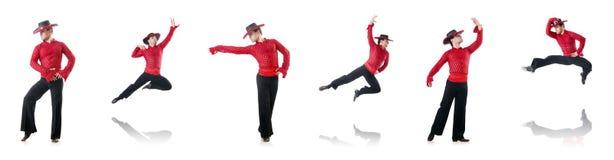 人跳舞的西班牙人在白色跳舞 库存照片
